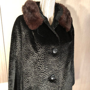 Vtg Faux Black Persian Lamb Jacket REAL fur collar